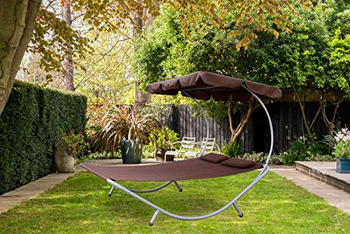BIRCHTREE Garden Outdoor Patio Furniture Double Sun Lounger Day Bed Hammock Canopy Shade Relaxing Sunny Brown New SDB08