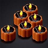 Velas Solares de Calabaza, PChero 6pcs Impermeable Solared Flameless LED Tealight Candles para Halloween, Acción de Gracias, Navidad y Decoración Navideña