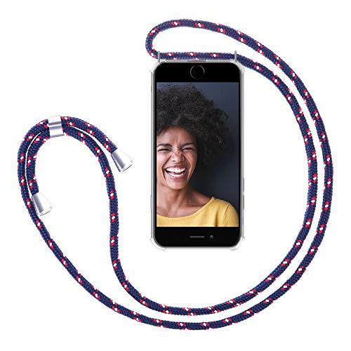 ZhinkArts Handykette kompatibel mit Apple iPhone 6 / 6S - Smartphone Necklace Hülle mit Band - Handyhülle Case mit Kette zum umhängen in Navy - Blau