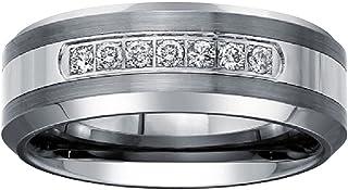 Mens 1/5ct Diamond Wedding Band in Tungsten Carbide