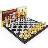 XWDQ Único Juego de ajedrez Especial para el Juego, 12.6'x12.6, Entrenamiento para niños, Juego de Entretenimiento al Aire Libre para Adultos, ajedrez magnético Plegable 3D, Regalo Portátil
