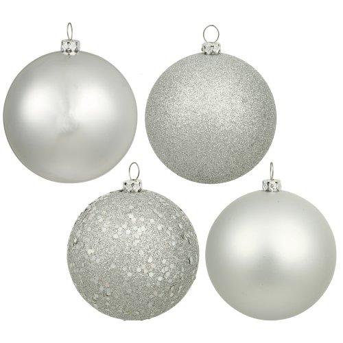Vickerman 6' Silver 4 Finish Ball Ornament 4 per Box