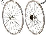 Redondo 28 Zoll Laufrad Set Hinterrad Vorderrad 28' V-Profil Hohlkammer Felge Silber + 6-Fach Kranz