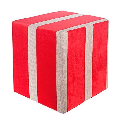 Kaikoon Pouf carré en Tissu Rouge Dimensions : 35 cm x 35 cm x 42 cm
