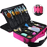 FLYMEI Professional Makeup Case 3 Layer Large Capacity Makeup Train Case 16' Makeup Artist organizer case with Shoulder Strap and Adjustable Divider, Pink