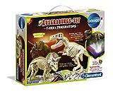 Clementoni - 69408 - Kit Archeogiocando T-Rex e Triceratopo, per bambini dai 7 anni in su, scavo di dinosauri con martello e scalpello, per piccoli ricercatori