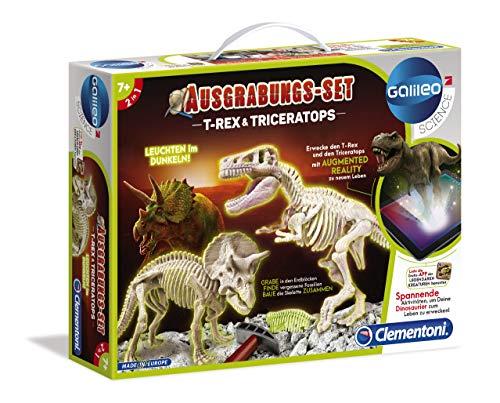 Clementoni 69408 Galileo Science – zestaw wykopów T-Rex & Triceratops, zabawka dla dzieci od 7 lat, wykopywanie młotkiem i dłuto, dla małych naukowców jako prezent bożonarodzeniowy