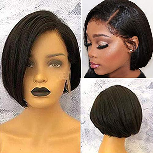 Short Straight Bob Cut Lace Front Wigs Human Hair for Black Women Glueless Brazilian Virgin Hair Left Side Part Pre Plucked with Baby Hair Bob Wigs Bleached Knots 1B# (8inch, Lace Front Wig)