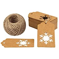 Christmas Tags,100PCS Snowflake Christmas Gift Tags Kraft Paper Tags Perfect for Christmas Gift Wrapping Packaging