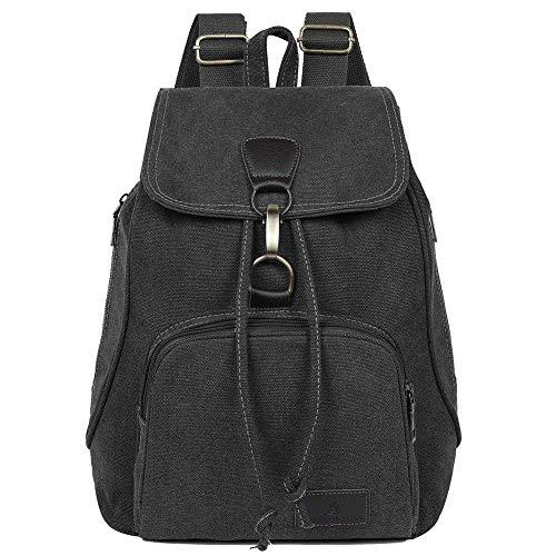 EGOGO Damen Canvas Rucksack Casual Schultaschen Daypack Taschen Freizeitrucksack Schulrucksack E530-1 (Schwarz)