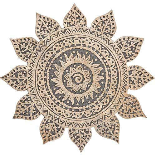 Orientalische Holz Ornament Wanddeko Sole Schwarz 40cm gross XL | Orientalisches Wandbild Wanpannel in Weiß als Wanddekoration | Vintage Triptychon als Dekoration im Schlafzimmer oder Wohnzimmer