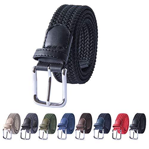 MIJIU Cintura elasticizzata da uomo, cintura intrecciata in tessuto elasticizzato tinta unita, pelle testa e coda, Più colori disponibili