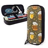 borsa per il trasporto delle icone di vettore della birra Scatola per il trucco Borsa per il trucco in pelle Grande organizer per cancelleria con cerniera per banco di scuola