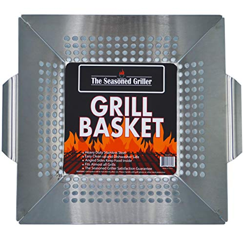 Professional Grade Stainless Steel Grill Basket, BBQ Accessories, Meats, Vegetables, Seafood, Pizza, Kabob. Fits Charcoal, Gas Grills Camping Cookware Grill Tool Gift for Dad