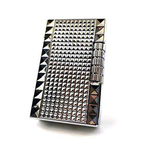 【C55】Chequered/チェカード フリントガスライター シルバー/銀 ブランドカード付き 高級感のあるスタッズ 横回し式
