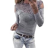 OVERDOSE Damen Langarm O Hals Spitze Patchwork Sweatshirt Bluse Pullover Frühling...