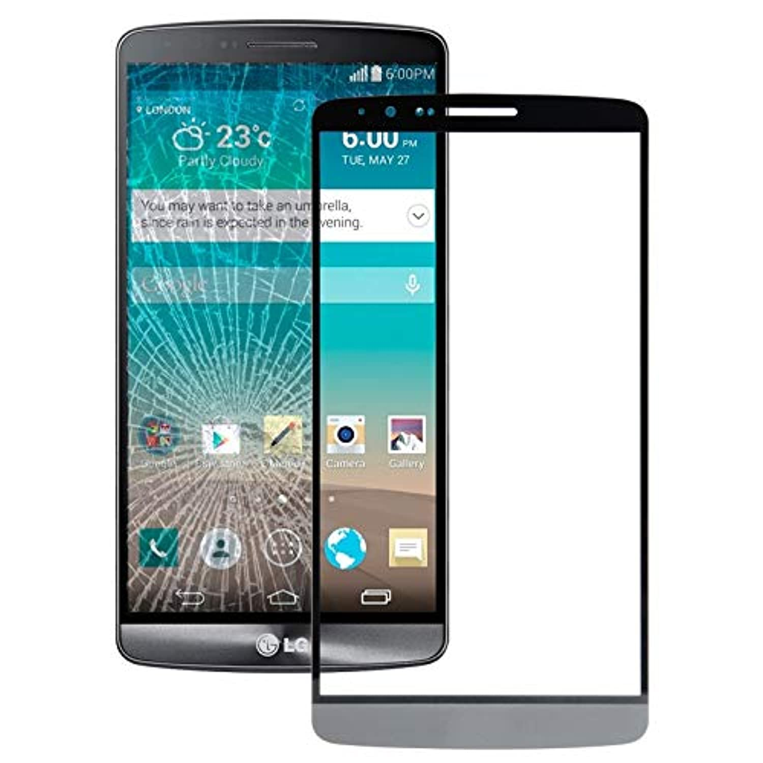 YUNCHAO Cell Phone Accessories Front Screen Outer Glass Lens for LG G3 / D855 / D850(Grey)