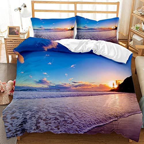 QIAOJIN Juego de ropa de cama para niños, impresión 3D de mirada a la playa, funda nórdica de microfibra azul, funda de edredón y funda de almohada, para niños y niñas (200 x 200)