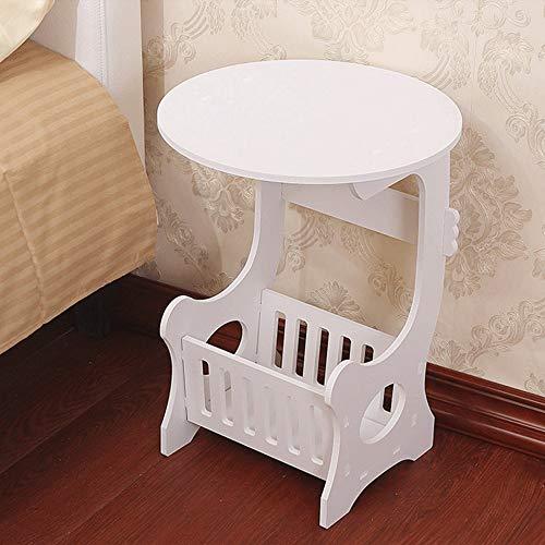 Diaod Mini Mesa de té de café Redonda de plástico Europea para el hogar, Sala de Estar de plástico Simple, Estante de Almacenamiento para Dormitorio, mesita de Noche Blanca