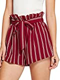 SweatyRocks Women's Casual Elastic Waist Striped Summer Beach Shorts Red White Stripe L