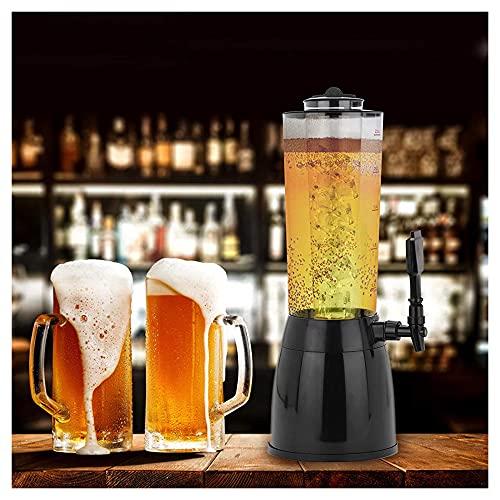 Dispensador de bebidas con núcleo de hielo de 2,5 L, dispensador de cerveza y bebidas con soporte de cámara de hielo extraíble Torre de cerveza para bar restaurante buffet familiar