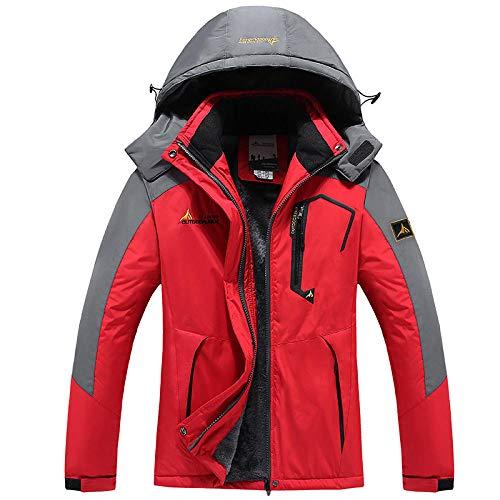 Hombres plus chaqueta acolchada de forro polar al aire libre abrigo a prueba de frío-Mujer escarlata_7XL
