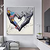 Prints and Posters Gesture Heart Graffiti Canvas Painting Love Hands Wall Art Canvas Giclee Artwork Decorative Picture for Living Room Home Decor(80x80cm)No frame