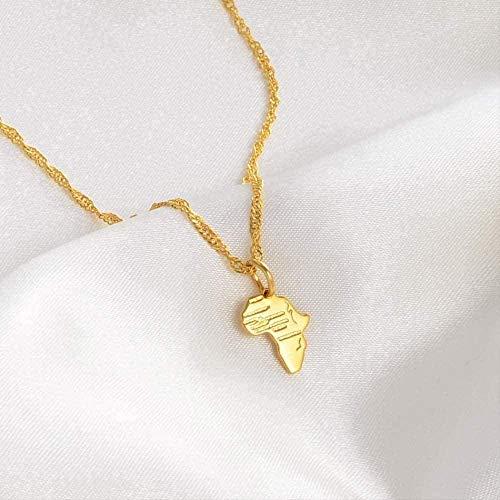 DUEJJH Co.,ltd Collar Mini Colgante y Collar de Mapa de África para Mujeres, niñas, niños, joyería de Color Dorado, pequeño Mapa Africano