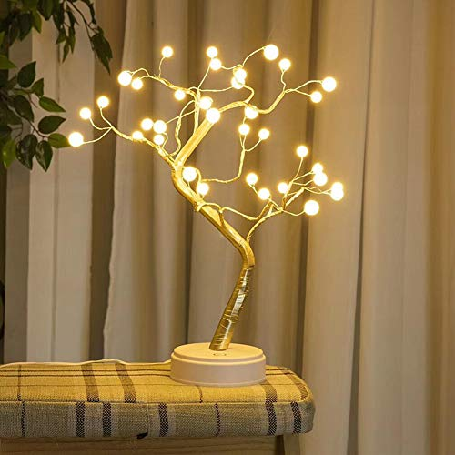 XhuangTech Tabletop Bonsai Tree Light with 36 LED Copper Wire String Lights,Battery/USB Operated DIY Artificial Tree Lamp for Bedroom Desktop Christmas Party Decoration Lights (Warm White - Pearl)