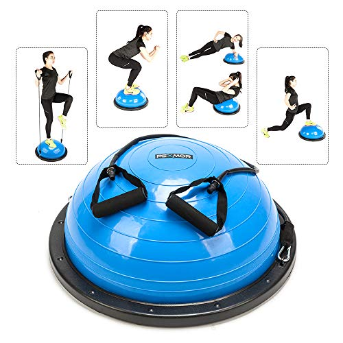 PEXMOR Yoga Half Ball Balance Trainer Exercise Ball Resistance Band Two Pump Home Gym Core Training (Standard Version - Blue)