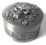 Puff Sugar Skull Herbal Grinder - 54 Tooth Rips Through All Herb Types - 3 Floor Design with Magnetic Top Cover Mesh Sifter and Scraper - Premium Gun Metal Grey
