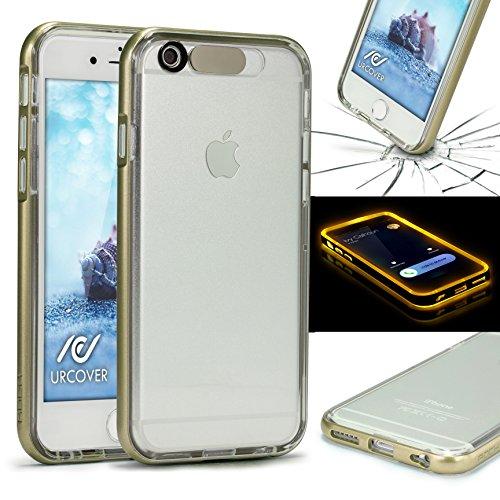 Urcover® Flash Funktion Bumper kompatibel mit Apple iPhone 6 / 6s Champagner Gold Hülle eingehender Anruf/SMS LED Flash Light Blink Function Handyhülle mit TPU Rückseite Cover Hülle