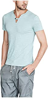 Mote Mens Clothes, Mens Solid Color Breathable Shaping Hipster Casual Button Short Sleeve Blue
