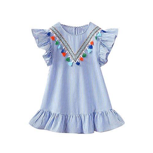 Fossen Niñas Vestidos con Volantes Borla de la Raya de Fiesta (Azul, 5-6 años)