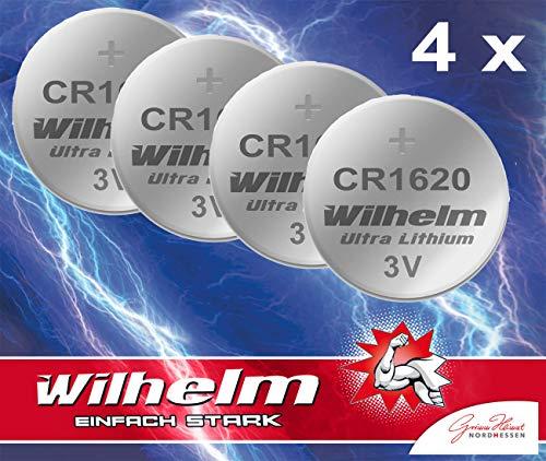 4 x CR1620 WILHELM Lithium Knopfzelle 3V 70mAh ø16x2,0mm Batterie DL1620, 6620