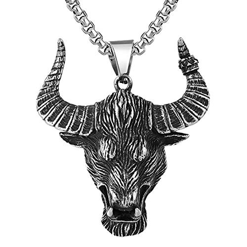EzzySo Colgante Bison Head, Vikingo gótico, Collar de Acero de Titanio, Adecuado para Caballeros, Halloween, Fiestas, Hombres y Mujeres (incluida la Cadena),A