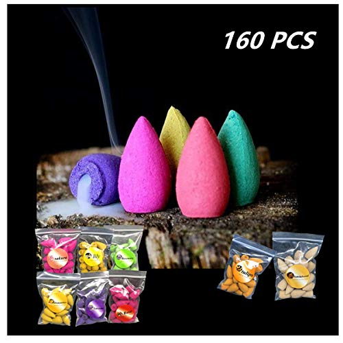 160 Pcs Backflow Incense Cones 8 Mixed Natural Scents Sandalwood Rose Lily Tulips Rosemary Lavender Sakura Osmanthus(Incense Cones)