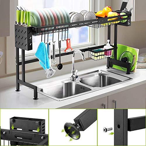 ANTOPY Spülbeckenregal, Abtropffläche, erweiterbarer Spültrockner (66-100 cm), großes Abtropfregal mit Utensilienhalter für die Küche