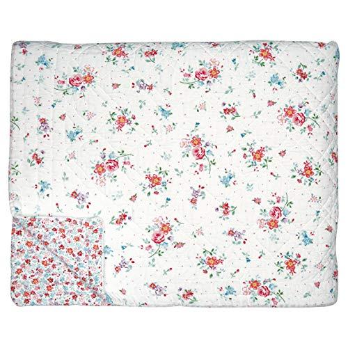 GreenGate Quilt Tagesdecke Belle White - 140 x 220 cm - Blumen