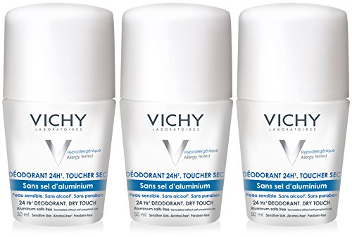 Vichy 24-Hour Dry-Touch Roll-On Deodorant, 3 count