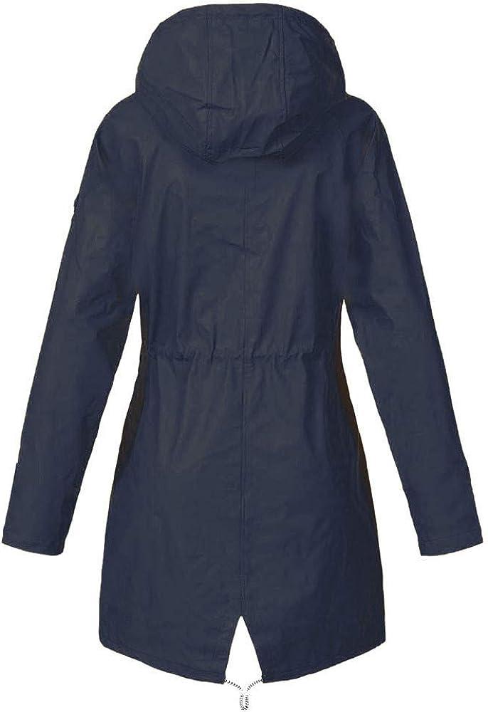 Xmiral Wanderjacke Damen Wasserdicht Winddicht Regenmantel Outdoor Camping Jacke Streifen innen Marineblau
