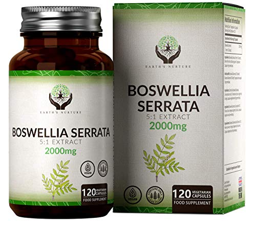 EN Boswellia Serrata 2000mg High Strength Capsules | 5:1 Boswellia Extract | 120 Vegan Caps | Indian Frankincense Supplement | Non-GMO & Gluten Free | Clean Fillers | Made in The UK