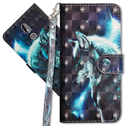 MRSTER Nokia 3.2 Handytasche, Leder Schutzhülle Brieftasche Hülle Flip Hülle 3D Muster Cover mit Kartenfach Magnet Tasche Handyhüllen für Nokia 3.2. YX 3D - Wolf