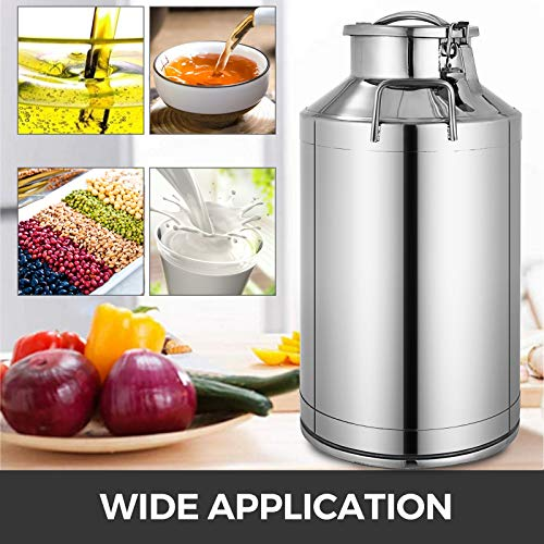 Mophorn 304 Stainless Steel Milk Can 60 Liter Milk bucket Wine Pail Bucket 15.8 Gallon Milk Can Tote Jug with Sealed Lid Heavy Duty
