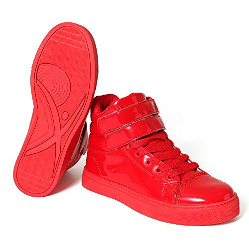 Alexandra Collection High Top Dance Sneakers Shoes for Women Red