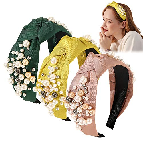 Headbands for Women Head Bands - Wide Knotted Pearl Fashion Cute Large Accessories Hairbands for Girls Oversize Para Mujer De Moda Big No Slip Head Band Stretchy Gifts for Women(Yellow Beige Green)