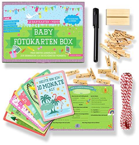 JANEYO - 40 Baby Meilenstein Karten fürs erste Lebensjahr - Ideal als Geschenk zur Geburt oder Schwangerschaft - Meilensteinkarten Baby Cards für Jungen & Mädchen - Deutsch (großes Set)