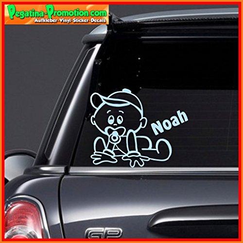 """Hochwertiger Namens Aufkleber \"""" Noah \"""" Autoaufkleber Name Aufkleber Wandtattoo Aufkleber für Glas,Lack,Tür und alle glatten Flächen, viele Farben zur Auswahl,Auto Sticker Baby an Bord, Kindername,Namensaufkleber"""