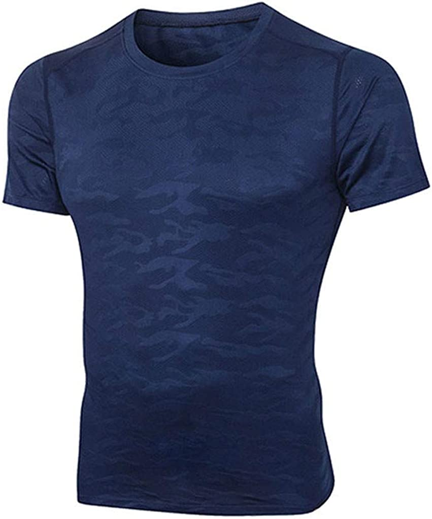 Amober Men T Shirt Short Sleeve,Men's Fitness Fast-Drying Camouflage Sports Breathable Short Sleeve T-Shirt Tops