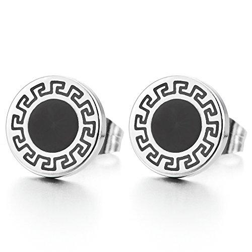 10MM Círculo Pendientes con Modelo Dominante Griego y Esmalte Negro para Hombres Mujer, Acero Inoxidable, 2 Piezas